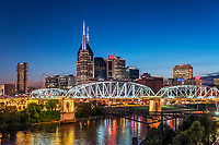 Nashville city skyline at dusk, Tennessee, USA.