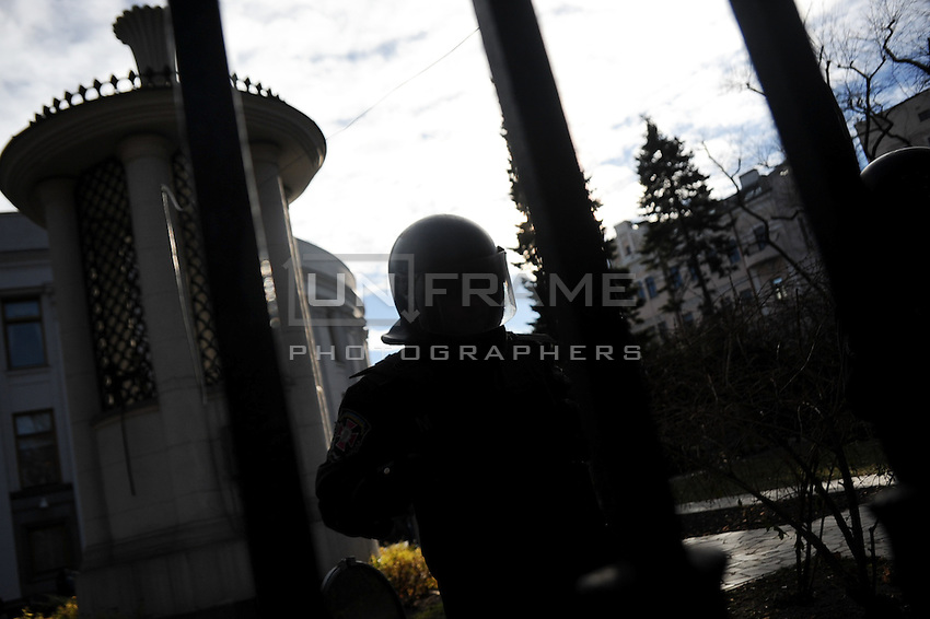 Special police forces guard building of parliament  during protests against current Ukrainian government and president Yanukovich  in Kiev. Ukraine.