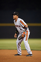Aberdeen IronBirds first baseman Milton Ramos (9) during a game against the Tri-City ValleyCats on August 27, 2018 at Joseph L. Bruno Stadium in Troy, New York.  Aberdeen defeated Tri-City 11-5.  (Mike Janes/Four Seam Images)