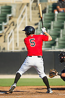 Toby Thomas (5) of the Kannapolis Intimidators at bat against the Augusta GreenJackets at CMC-NorthEast Stadium on August 3, 2014 in Kannapolis, North Carolina.  The Intimidators defeated the GreenJackets 10-5. (Brian Westerholt/Four Seam Images)