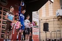 podium ceremony:<br /> 1/ Julian ALAPHILIPPE (FRA/Deceuninck-Quick Step)<br /> 2/ Oliver Naesen (BEL/AG2R-La Mondiale)<br /> 3/ Michał Kwiatkowski (POL/SKY)<br /> <br /> 110th Milano-Sanremo 2019 (ITA)<br /> One day race from Milano to Sanremo (291km)<br /> <br /> ©kramon