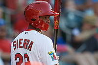 Springfield Cardinals left fielder Magneuris Sierra (29) on deck during a game against the Corpus Christi Hooks on May 30, 2017 at Hammons Field in Springfield, Missouri.  Springfield defeated Corpus Christi 4-3.  (Mike Janes/Four Seam Images)