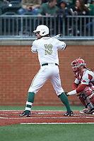 Drew Ober (18) of the Charlotte 49ers at bat against the Arkansas Razorbacks at Hayes Stadium on March 21, 2018 in Charlotte, North Carolina.  The 49ers defeated the Razorbacks 6-3.  (Brian Westerholt/Four Seam Images)