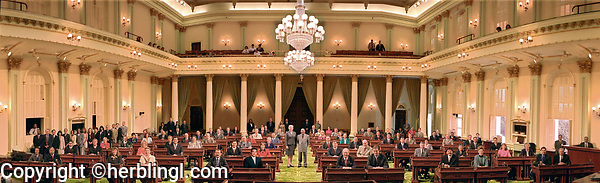Panoramic group photograph California State Assembly elected officials in legislative chambers, 2003
