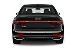 Straight rear view of a 2019 Audi A8 L . 4 Door Sedan