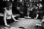 Casino interior Isle of Man 1970s, people playing roulette  gambling 1978 UK.