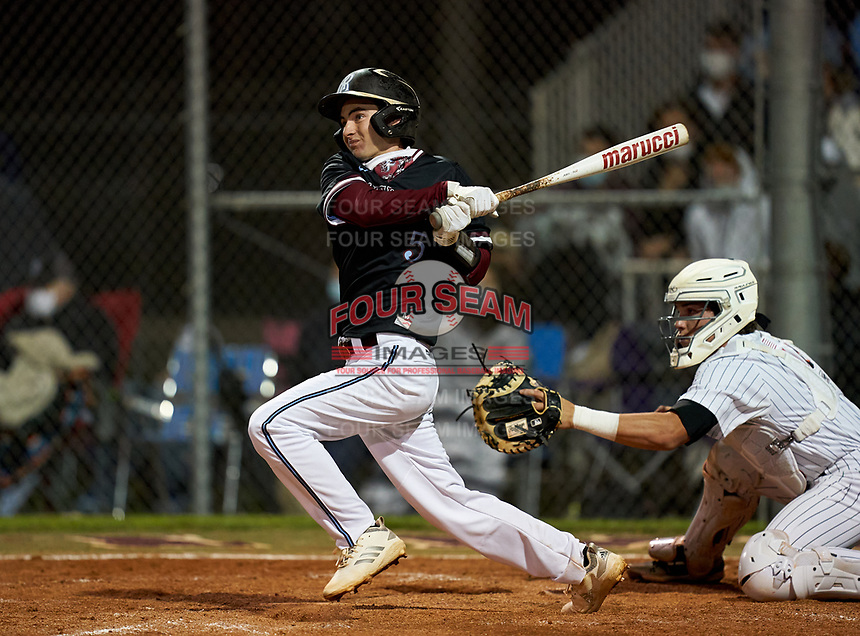 Riverview Rams Dylan Wilds (5) bats during a game against the Sarasota Sailors on February 19, 2021 at Rams Baseball Complex in Sarasota, Florida. (Mike Janes/Four Seam Images)