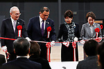 Tokyo Governor Yuriko Koike (C-R) cuts the red ribbon during the Grand Opening Ceremony of Ariake Arena on February 2, 2020, Tokyo, Japan. The new sporting and cultural centre will host the volleyball and wheelchair basketball competitions during the Tokyo 2020 Olympic Games. (Photo by Rodrigo Reyes Marin/AFLO)