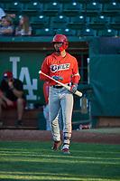 Jo Adell (13) of the Orem Owlz comes to bat against the Ogden Raptors at Lindquist Field on September 10, 2017 in Ogden, Utah. Ogden defeated Orem 9-4. (Stephen Smith/Four Seam Images)
