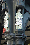 Chester Cheshire UK. Carving exterior of Mr Simms Old Sweet Shop in th Northgate Street. Mr Simms Olde Sweet Shoppe. The Profit of the Earth is For All, and The King Himself is Served by the Field.