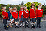 Junior infants in Derryquay NS on Wednesday, l to r: Óssie Wells, Brid Nic Gearailt (Teacher), Faye Fitzmaurice, Noísiu Laide, Madeline Bicking and Stevie Boyle.