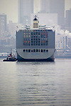 Seattle, Marine Trade, Puget Sound, Port of Seattle: Container ship, tugboat assist, view from stern,