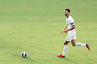 CARY, NC - AUGUST 01: Alex Crognale #21 brings the ball up the field during a game between Birmingham Legion FC and North Carolina FC at Sahlen's Stadium at WakeMed Soccer Park on August 01, 2020 in Cary, North Carolina.
