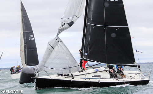 Mark rounding in breeze depends on crew work Photo: Afloat