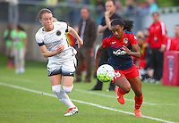 Boyds, MD - Saturday May 07, 2016: Portland Thorns FC midfielder Meleana Shim (6) chases after Washington Spirit forward Crystal Dunn (19) during a regular season National Women's Soccer League (NWSL) match at Maureen Hendricks Field, Maryland SoccerPlex. Washington Spirit tied the Portland Thorns 0-0.
