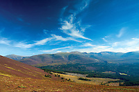 Bynack More, Cairn Gorm and the Northern Corries from Creagan Gorm, Aviemore, Cairngorm National Park, Highland