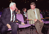 Montreal (qc) CANADA - file Photo - 1992 - <br /> Union des Municipalites du Quebec convention in April - Jean Dore, Mayor of Montreal (R) talk with Ralph Mercier, UMQ President and Mayor of Charlesbourg (L)