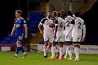 16th September 2020; Portman Road, Ipswich, Suffolk, England, English Football League Cup, Carabao Cup, Ipswich Town versus Fulham; Aleksandar Mitrovic of Fulham celebrates after he scored for 0-1 in the 38th minute