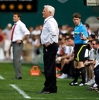 New York Red Bulls head coach Hans Backe yells to his players at RFK Stadium in Washington, DC.  The New York Red Bulls defeated D.CC United, 2-0.
