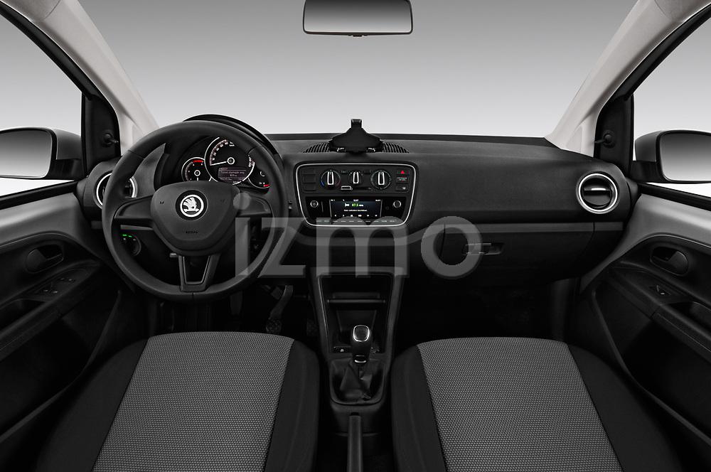 Stock photo of straight dashboard view of a 2017 Skoda Citigo Ambition 5 Door Hatchback