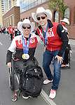 Calgary, AB - June 6 2014 - Para-Alpine's Josh Dueck with Freestyler skier Alex Bilodeau before the Celebration of Excellence Parade of Champions. (Photo: Matthew Murnaghan/Canadian Paralympic Committee)