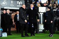 Steve Cooper Head Coach of Swansea City shakes hands with Tony Mowbray Manager of Blackburn Rovers during the Sky Bet Championship match between Swansea City and Blackburn Rovers at the Liberty Stadium in Swansea, Wales, UK. Wednesday 11 December 2019