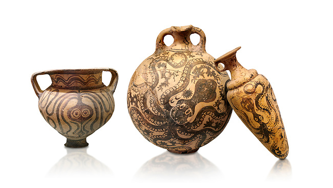Minoan pottery with stylised octopus decorations, 1500-1400 BC, Heraklion Archaeological Museum, white background.  <br /> <br /> From Left to right<br /> 1- Krater Episkopi Lerapetra 1370-1250 BC, <br /> 2- flask with Marine style stylised octopus design,   Palaikastro,  1500-1450 BC; <br /> 3- far right  conical rhython with Marine style stylised octopus design,   Palaikastro 1500-1450 BC;