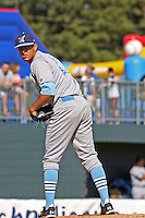 Alex Caldera #12 of the Wilmington Blue Rocks pitching against the Myrtle Beach Pelicans on April 11, 2010  in Myrtle Beach, SC.