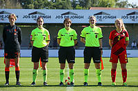 Isa Kardinaal (4) of the Netherlands, referees and Captain Tinne Broeckaert (2) of Belgium pictured during the line up before an international friendly female soccer game between the national teams of Belgium , called the Red Flames U17 and the Netherlands on Wednesday 8th of September 2020  in Kalmthout , Belgium . PHOTO SPORTPIX.BE | SPP | SEVIL OKTEM
