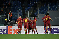 Football Soccer: UEFA Europa League round of 32 first leg AS Roma vs KAA Gent, Olympic stadium, Rome, 20 February, 2020.<br /> Roma's Carles Pérez (c) celebrates after scoring with his teammates during the Europa League football match between Roma and Gent at the Olympic stadium in Rome on 20 February, 2020.<br /> UPDATE IMAGES PRESS/Isabella Bonotto