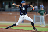 Asheville Tourists pitcher Ben Hughes #35 delivers a pitch during a game against the Augusta GreenJackets at McCormick Field on June 27, 2013 in Asheville, North Carolina. The Tourists won the game 10-6. (Tony Farlow/Four Seam Images)
