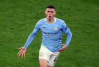 14th April 2021; Induna Park, Dortmund, Germany; UEFA Champions League Football quarter-final, Borussia Dortmund versus Manchester City;  Phil Foden Manchester City celebrates his 2-1 goal