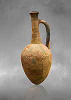 Hittite long neck pointed base terra cotta vessel. Hittite Old Period, 1650 - 1450 BC. Huseyindede. Çorum Archaeological Museum, Corum, Turkey. Against a grey bacground.