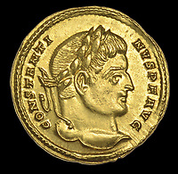 BNPS.co.uk (01202 558833)<br /> Pic:  DixNoonanWebb/BNPS <br /> <br /> The immaculate coin bears the head of Constantine The Great - The first Christian Emperor of the Roman world.<br /> <br /> 1600 year old coin looks as good as new...<br /> <br /> An extremely rare Roman gold coin that was discovered by a metal detectorist on a farm has sold at auction for almost £20,000.<br /> <br /> The 4th century AD treasure was found 1ft below the surface of a field near Wanstrow, Somerset.<br /> <br /> The Solidus coin carries the portrait of Constantine I who was the first ruler to embrace the cult of Christianity.