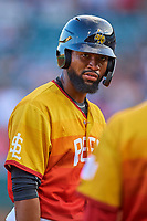 Jo Adell (26) of the Salt Lake Bees during the game against the Oklahoma City Dodgers at Smith's Ballpark on August 1, 2019 in Salt Lake City, Utah. The Bees defeated the Dodgers 14-4. (Stephen Smith/Four Seam Images)