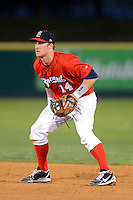 Brevard County Manatees second baseman Greg Hopkins #14 during a game against the Daytona Cubs at Spacecoast Stadium on April 5, 2013 in Viera, Florida.  Daytona defeated Brevard County 8-0.  (Mike Janes/Four Seam Images)