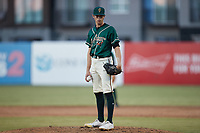 Greensboro Grasshoppers relief pitcher Grant Ford (41) looks to his catcher for the sign against the Hickory Crawdads at First National Bank Field on May 6, 2021 in Greensboro, North Carolina. (Brian Westerholt/Four Seam Images)
