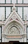 Discovery of the Cross Tito Sarrocchi 1863 Left Portal Lunette Pediment and Sculptures Santa Croce Florence