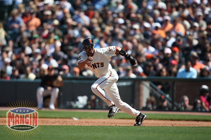 SAN FRANCISCO - JUNE 1: Randy Winn of the San Francisco Giants runs the bases during the game against the San Diego Padres at AT&T Park in San Francisco, California on June 1, 2008. Photo by Brad Mangin