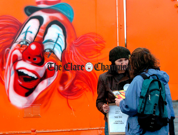 No laughing matter..................Kate Browne of Clare Animal Welfare  handing out literature during a protest against Animal Circuses during the visit of Circus New York to Ennis. Photograph by John Kelly.