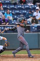 Rashad Crawford #7 of the Boise Hawks bats against the Everett AquaSox at Everett Memorial Stadium on July 22, 2014 in Everett, Washington. Everett defeated Boise, 6-0. (Larry Goren/Four Seam Images)