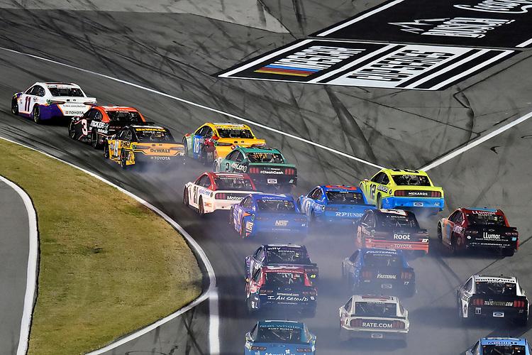 #11: Denny Hamlin, Joe Gibbs Racing, Toyota Camry FedEx Express and #19: Martin Truex Jr., Joe Gibbs Racing, Toyota Camry DeWalt