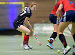 GER - Luebeck, Germany, February 06: During the 1. Bundesliga Damen indoor hockey semi final match at the Final 4 between Berliner HC (blue) and Duesseldorfer HC (red) on February 6, 2016 at Hansehalle Luebeck in Luebeck, Germany. Final score 1-3 (HT 0-1). (Photo by Dirk Markgraf / www.265-images.com) *** Local caption *** Viola Scharf #31 of Berliner HC