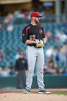 Rochester Red Wings starting pitcher Zack Littell (27) looks to his catcher for the sign against the Charlotte Knights at BB&T BallPark on May 14, 2019 in Charlotte, North Carolina. The Knights defeated the Red Wings 13-7. (Brian Westerholt/Four Seam Images)