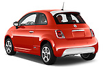 Car pictures of rear three quarter view of a 2014 Fiat 500e 3 Door Hatchback Angular Rear