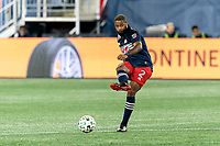 FOXBOROUGH, MA - OCTOBER 3: Andrew Farrell #2 of New England Revolution passes the ball during a game between Nashville SC and New England Revolution at Gillette Stadium on October 3, 2020 in Foxborough, Massachusetts.