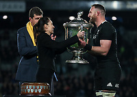 NZ Prime Minister Jacinda Ardern presents the Bledisloe Cup to Kieran Read after the Bledisloe Cup rugby match between the New Zealand All Blacks and Australia Wallabies at Eden Park in Auckland, New Zealand on Saturday, 17 August 2019. Photo: Simon Watts / lintottphoto.co.nz