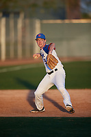Noah Roberts (9) of Jacob Hespeler Secondary School in Cambridge, Ontario, Canada during the Baseball Factory All-America Pre-Season Tournament, powered by Under Armour, on January 13, 2018 at Sloan Park Complex in Mesa, Arizona.  (Mike Janes/Four Seam Images)