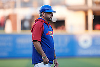 High Point Rockers manager Jamie Keefe coaches third base during the game against the Southern Maryland Blue Crabs at Truist Point on June 18, 2021, in High Point, North Carolina. (Brian Westerholt/Four Seam Images)
