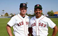 Boston Red Sox catchers Scott Hatteberg and Tony Pena during spring training circa 1992 at Chain of Lakes Park in Winter Haven, Florida.  (MJA/Four Seam Images)